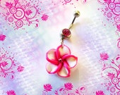 Belly Ring, Fuchsia & White Tropical Hawaiian Plumeria Flower With Crystal, Belly button Navel Ring, Belly Button Jewelry For Women Or Teens