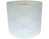 Lamp Shade Lampshade Tahitian Stitch by Lacefield Designs Horizon Turquoise Blue Aqua Made to Order
