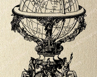 Globe Steampunk Instant Download Digital Transfer Image for Iron On / 12