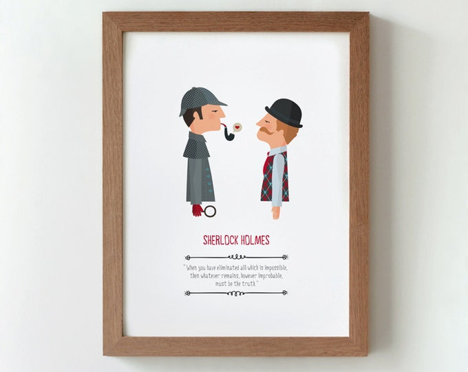 illustration. Sherlock Holmes. Print Wall art Art decor Hanging wall Printed art Decor home Gift idea Bedroom