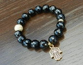 Protective Black Onyx Bracelet with Gold Hamsa Charm & Crystal Pave Accent, Reiki Infused Yoga Jewelry