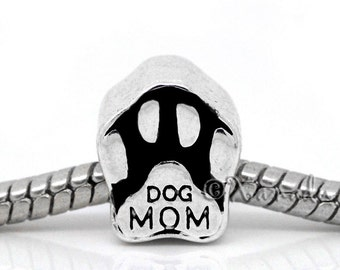 Dog Mom European Bead - Puppy Dog Paw Bead For All European Charm Bracelets - Gift Ideas For Dog Owners