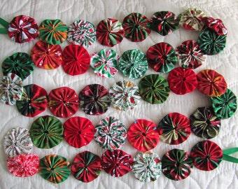 New 6 foot fabric yo yo christmas garland made of  2 inch yo yos.