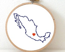 Mexico Map Cross Stitch Pattern. Save the date Mexico art with capital Mexico city. Mexican Wedding gift. Honeymoon gift. Engagement gift.