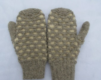 Newfoundland Mittens Sheep's Grey and White Adult 100% Wool Mittens