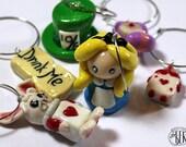 Custom Order - Alice in Wonderland Inspired Wine Glass Charms