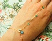 Monogram Gold Slave Bracelet - Turquoise Evil Eye Hand Finger Chain - Bohemian Armlet - Initial Monogram Slave Bracelet - Morocco