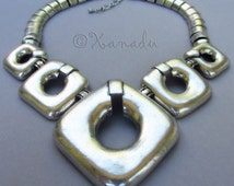 Square Peg Round Hole Silver Statement Necklace - New Item For Xanadu Designs 2014 Spring Collection