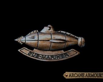 Steampunk Sub-Mariner Badge Kracken hunting Wasteland Steel Finish