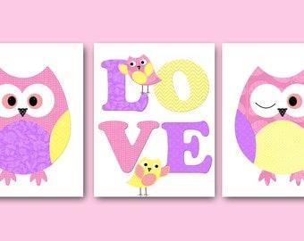 Kids Wall Art Owl Nursery Owl Decor Baby Nursery Decor Baby Girl Nursery Kids Art Baby Room Decor Nursery Prints set of 3 Pink Yellow /