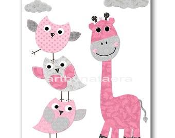 Kids Wall Art Giraffe Nursery Baby Girl Nursery Art Decor Kids Art Baby Room Decor Nursery Print Nursery Wall Art Girl Print Rose Gray