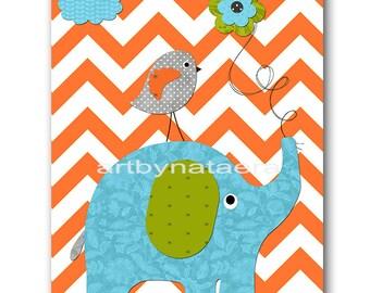 Elephant Nursery Baby Boy Nursery Art Nursery Wall Art Baby Nursery Kids Room Decor Kids Art Boy Print Bird Decor Green Orange Blue
