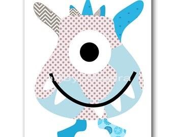 Monster Nursery Art Baby Art Kids Art Kids Wall Art Baby Boy Nursery Wall Art Print Baby Boy Room Decor Kids Room Decor Gray Blue