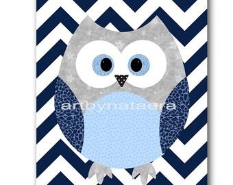 Owl Decor Owl Nursery Art for Kids Room Kids Wall Art Baby Boy Nursery Room Kids Decor Baby Nursery Print Boy Art Kids Print Gray Blue