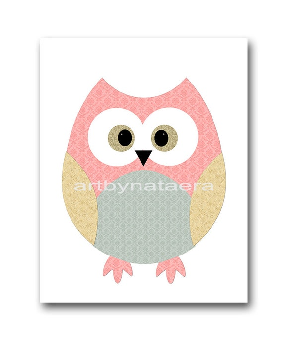 Owl decor owl nursery baby girl nursery art kids by artbynataera - Girl owl decor ...