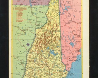 Vintage Map New Hampshire From 1953 Original