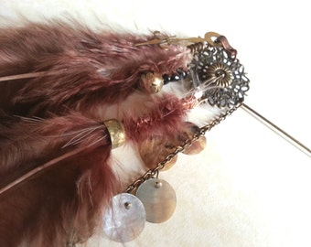 Tribal Feather Hatpin, lapel pin, bag charm - Aether Nomad designer range Steamhippy Tribal Steampunk