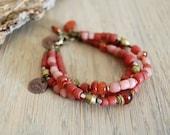 yoga bracelet - yoga jewelry - om bracelet - om jewelry - red orange