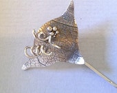 Ivy Leaf with Tendrils and Berries  textured and oxidised Sterling Silver  stick pin for lapel, scarf , hijab or hat.