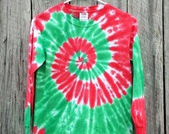 Adult Christmas Long Sleeve Tie Dye Shirt, S M L XL 2XL 3XL 4XL 5XL, Red and Green Spiral, Holiday, Mens, Womens