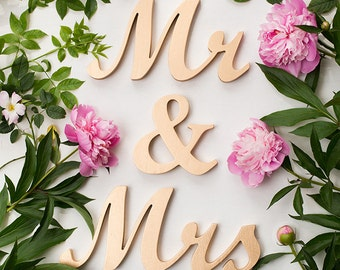 Mr and Mrs wedding table sign wooden script letters custom colors DIY gold wood signs freestanding sweetheart table decoration