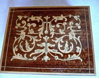 Vintage Inlaid Box - Jewellery Box - Italian Marquetry Box - Exotic Wood Box - Lidded - Dresser Trinket Box - Allegorical Creatures