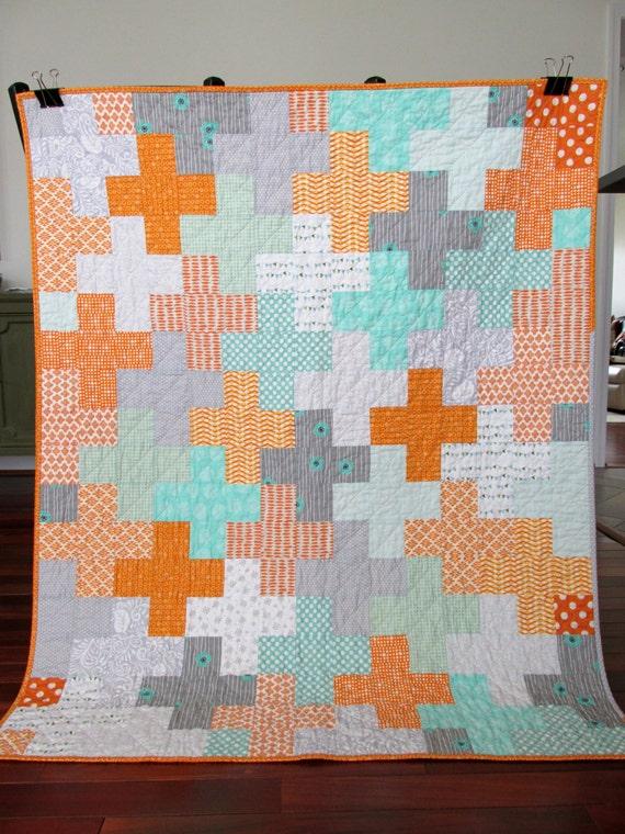 Free Shipping On Orange Teal Grey Plus Patchwork Modern Baby