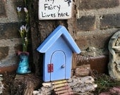 Fairy garden door, that opens, blue/ purple distressed with pale pink