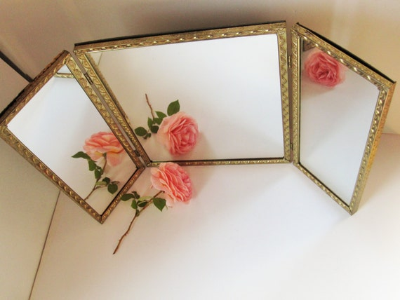 Vintage Free Standing Three Way Mirror By Thebrownsuitcase
