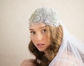 JULIET CAP Wedding Veil, Great Gatsby Inspired Beaded Rhinestone & Crystal Art Deco Bridal Fingertip Old Hollywood, Camilla Christine DAISY