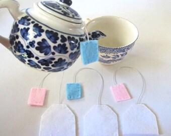 Four Felt Teabags, Tea Bags Felt Play Food