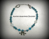 Autism Awareness Bracelet in Beautiful Blues and Silver, 2 styles available