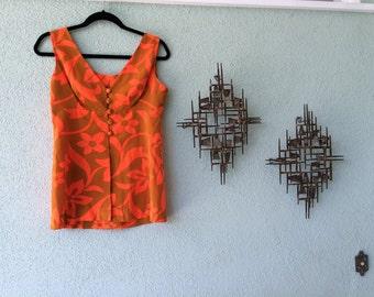Mai Tai Madness Awesome Neon Orange Hibiscus Flower Hawaiian Print Top Shirt Blouse Sleeveless Tank Button Up Breezy Bodice