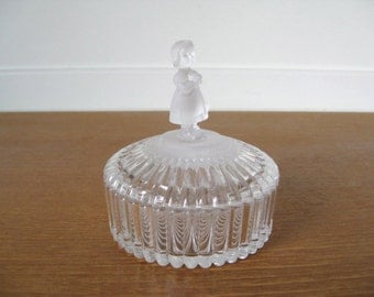 M.I. Hummel crystal trinket box featuring little girl with flowers, c. 1993