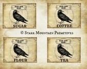 Primitive Kitchen Black Crow Brand Coffee Sugar Tea Flour Jpeg Digital Pantry Canister Jar Crock Crate Labels