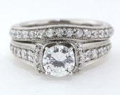 14k Gold Wedding Set Engagement Ring and Wedding Band Diamond Setting Moissanite Center