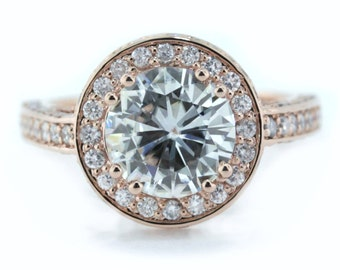 2 Ct. moissanite ring rose gold  diamond halo engagement ring  forever brilliant round center custom bridal jewelry