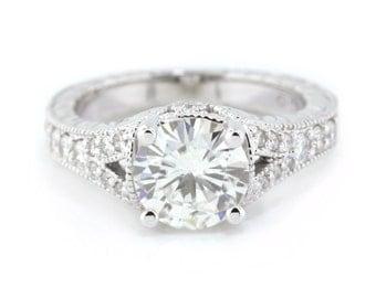 2 ct. Moissanite Engagement Ring Diamond Side Stones 14k Gold Name  Hand Carved