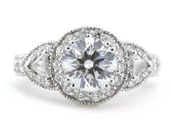Vintage Three Stone Engagement Ring 7.5 mm Moissanite Center Diamond Setting Name Lauren