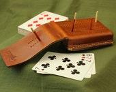 Compact Leather Cribbage Board - Hand Sewn, Saddle Tan