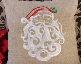 Santa Decorative Pillow, embroidered with santa face,decorative pillow, holiday pillow, custom pillow