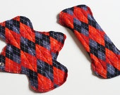 Set of 2 - 9 inch Reusable Flannel Pantyliner w/ Wings / Cloth Menstrual Pad - Black and Red Argyle