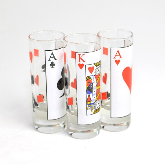 Poker Card Suit Shot Glass Set 3 Tall Double Shot Glasses