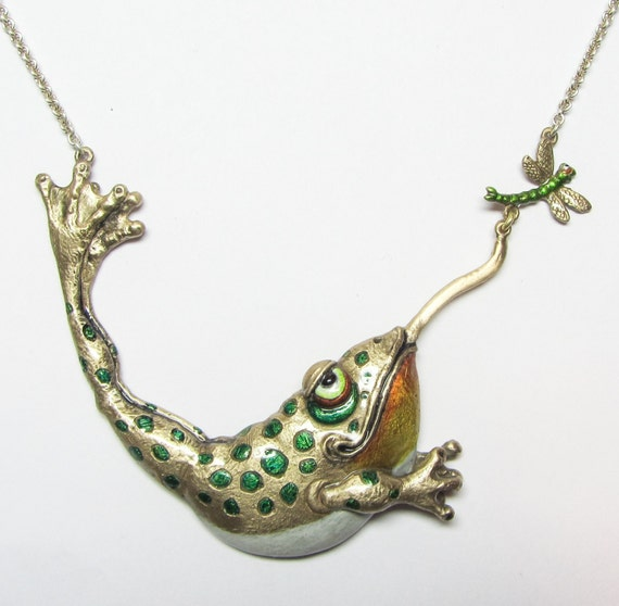 "Whimsical Bronze Frog & Dragonfly Necklace ""I Can Almost Flippin' Taste It"" On Silver Chain"