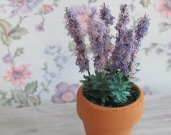 Miniature Lavender Plant Dollhouse Handcrafted Accessory 12th scale