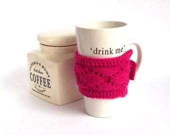 SALE - 50%OFF. Fuchsia Knit Coffee Cozy. Knitted Hot Pink Mug Cozy. Knitted Tea Cup Cosy.