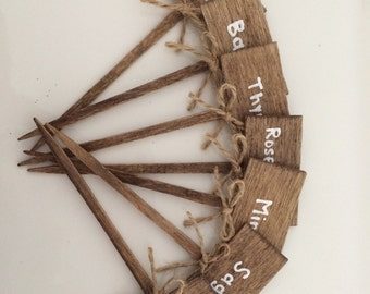 Herb Garden Plant Markers - 7 wooden markers with twine bow