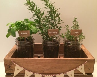 Indoor Rustic Wood Herb Garden with Mini Mason Jars and Herb Markers