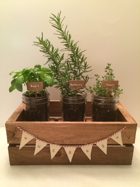 Items Similar To Indoor Rustic Wood Herb Garden With Mini