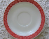 Red Leaf & Daisies Fire King Saucer, Retro Kitchen, Spoonrest, Soap Dish, Candle Holder